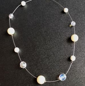Station Necklace pearl and crystal